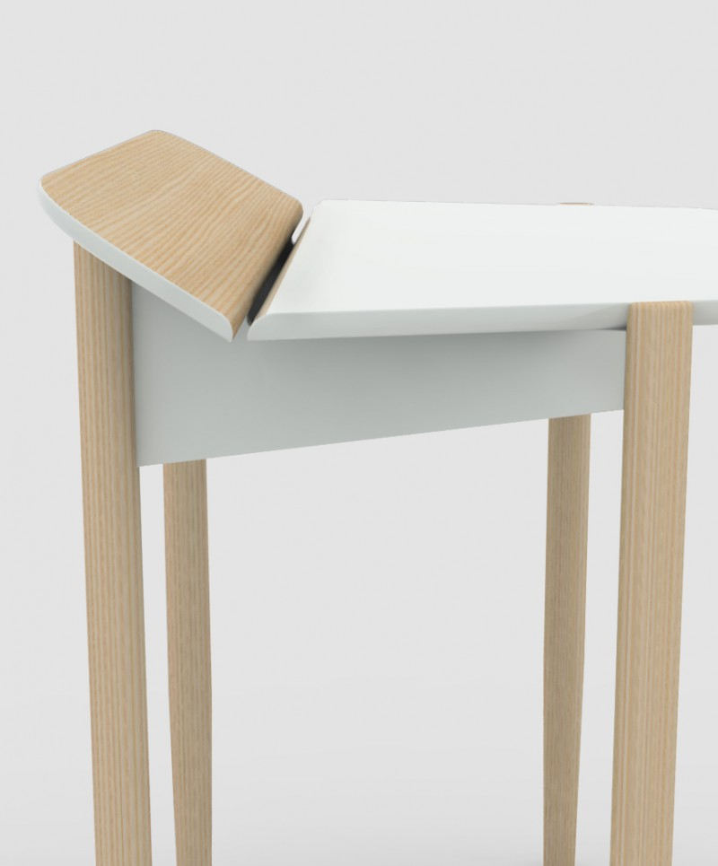 PICO deals with the need of having a small workspace at home without looking too office-like. The little desk is equipped with hidden storage space and an angled flap to store and operate smart devices.